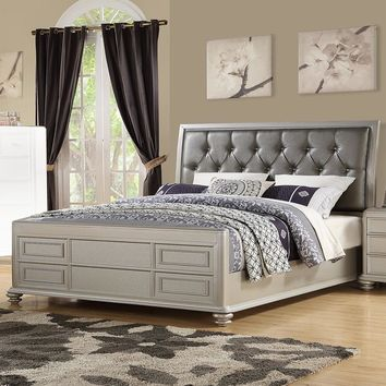 Awestrucking Wooden Queen Bed With Shinny Gray PU-HB, Silver Finish