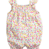 H&M - Cotton Jumpsuit - White/Small floral - Kids