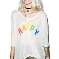 Wildfox Couture Happy Girl Sunday Morning V-Neck Tee Vintage Lace