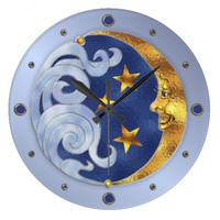 Celestial Moon and Stars Large Clock