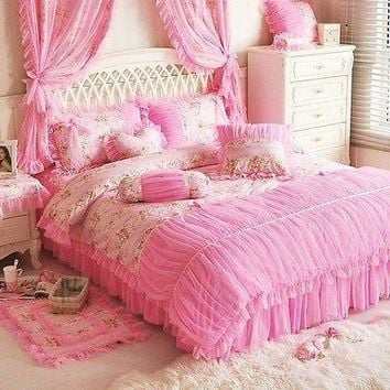 Korean Style Queen Size Girls Pink Lace Princess Bedding Duvet Cover Set
