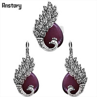 Drop Opal Peacock Cuff Earrings Ring Jewelry SetS Antique Silver Plated Fahion Jewelry TS359