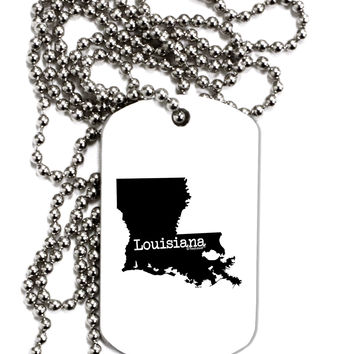 Louisiana - United States Shape Adult Dog Tag Chain Necklace