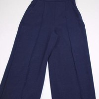 ZARA NAVY BLUE HIGH WAISTED TROUSERS CULOTTES SIZE S SMALL REF 2522/811