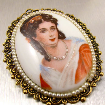 Victorian Revival Portrait Brooch Pendant Hand Painted Seed Pearl Porcelain Cameo