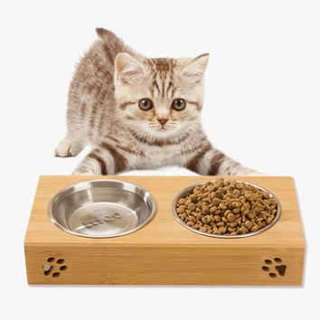 Stainless Steel Combo Cat Feeders Drink