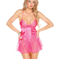 Captivating Charmeuse and Cut-Out Lace Chemise