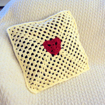 "Heart Cushion Cover Crochet Cushion Cover Granny Square Pillow Case Decorative Pillow  16"" x 16"" Housewarming Gift  Made to Order"