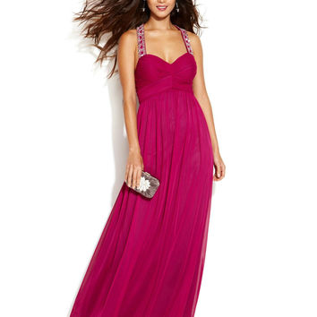 Betsy & Adam Sleeveless Pleated Beaded Gown