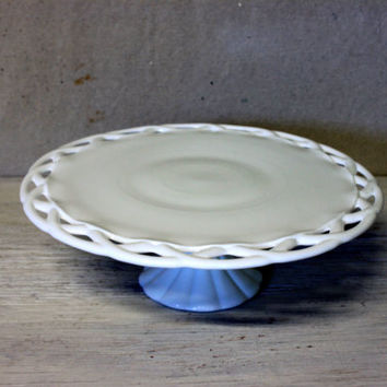 milk glass cake stand  // large pitman drietzer pedestal cake plate //  open woven edge colony lace
