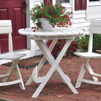 Outdoor Patio Dining Table In White Durable Plastic