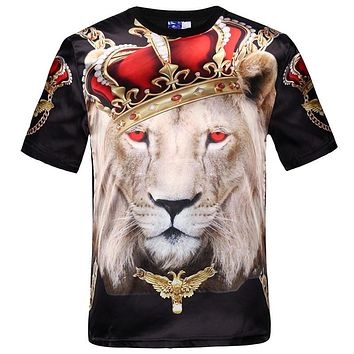 New fashion men's hip hop crown lion print t shirt mens 3d compression t-shirt swag ye
