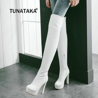 Women Stretch boots Thigh boots Platform Side Zipper Square High Heel Over The Knee Shoes Woman Black White Brown