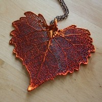 Copper Dipped Cottonwood Leaf Necklace, Heart Shape, Long Chain, Dark Red Jewelry, Autumn and Fall Season