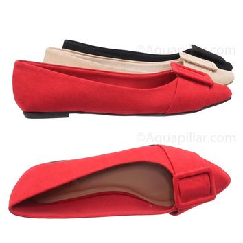 Blog57 Pointed Toe Flats - Women Dressy Ballet Shoes w Puritan Square Buckle