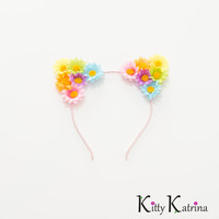 Pastel Rainbow Cat Ear Headband, Floral Cat Ears, Lolita Hair Accessories, Beyond Wonderland, Nocturnal Wonderland, Electric Daisy Carnival