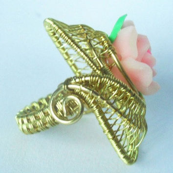 Chunky gold plated wire wrapped rose bud ring woven
