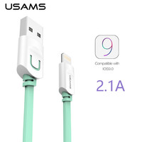 For Iphone 6 6s Plus 5s 5 5c Usb Cable IOS 9 USAMS 1m 1.5m Flat Usb Charger wire cobo Sync Data Cable For ipad 4 5 mini 2 air 2
