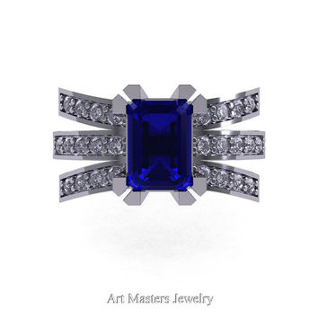 Modern Victorian 14K White Gold 1.0 Ct Emerald Cut Blue Sapphire Diamond Wedding Ring, Engagement Ring R344-14KWGDBS