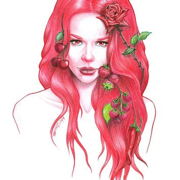 """Red wine"" - Art Print by e Drawings38"