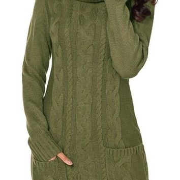 Olive Cowl Neck Pocket Cable Knit Sweater Dress