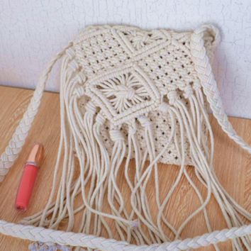 Small square bales of cotton in fringed bag trend handbags cord button-corrugated Messenger Bag