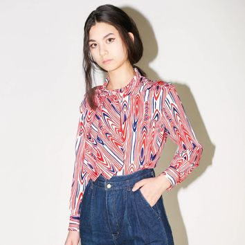 60s Red Wood Grain Blouse / S M