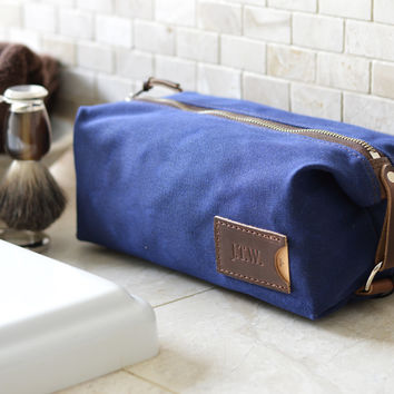 NO. 345 Personalized Dopp Kit with Leather Tag, Navy Blue Waxed Canvas