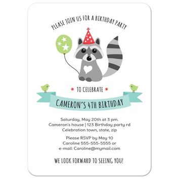 Little raccoon with party hat and balloon, birthday invitation for kids
