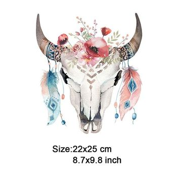 Cool Backpack school T-shirt funny bull flowers patch for backpacks stickers on clothes cool imagination heat transfer printing by household iron AT_52_3