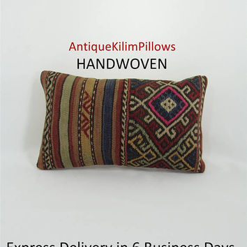 kilim pillow 12x20 lumbar pillow cover decorative pillow anatolian throw pillow sofa cushion cover sofa pillow furniture accessories 000170