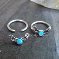 Blue Opal Captive Ring 14g 1/2″ Titanium Nipple Septum Daith Earring Piercing Opals Conch Earrings Body Jewelry Helix Rings Cartilage Piercings 12mm