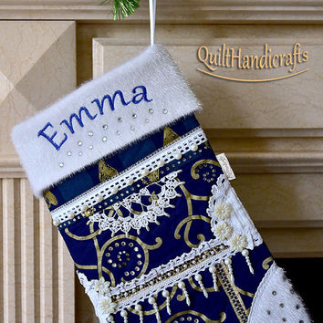 Personalized Christmas stocking Quilted Patchwork Christmas boot Style Shabby chic Large blue fabric stocking with faux fur cuff Unique gift