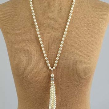 1920s Style Ivory Faux Pearl Pave Rhinestone Tassel Necklace
