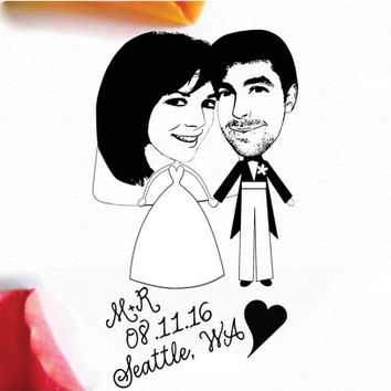 Unique Save The Date Stamp- Custom Portrait- Bride and Groom- Eco Friendly- Cute Post Card Save The Date- Personalized 4