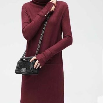 Plain Turtleneck Sweater Dress