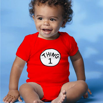 """Dr Seuss baby Onesuit, one piece """"Thing 1"""" personalized kids clothes"""