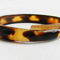 Antique Pre Ban Tortoise Shell Bangle Bracelet by alchemievintage