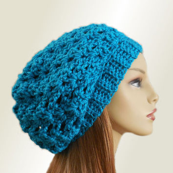 86742ad0af461 SLOUCHY Hat Crochet Knit Wool True Peacock Blue   Green Chunky Slouchy  Beanie Slouch Beany Women