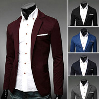 One Button Men Fashion Slim Fit Blazer Jacket
