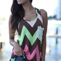 Chevron Tank Top with Crochet Pocket