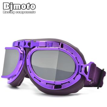 BJMOTO Purple Retro Aviator Pilot Motorcycle Mountain Bike Bicycle Cruiser Ski Goggles Outdoor Exercises Sports