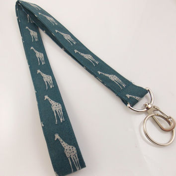 Giraffes Giraffe Lanyard Teacher Lanyard Zoo Lanyard Animal Lanyard Giraffe Key Holder Giraffe Necklace