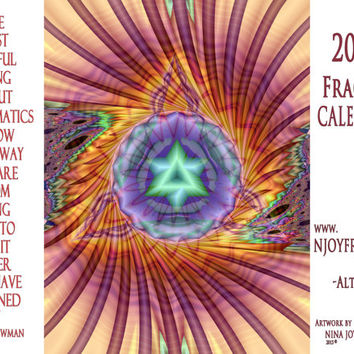Meditation Art 2016 Wall Calendar Fractal Art with famous Math Quotes Mandala Art Math Geek gift 12 Month Yoga Wall Art