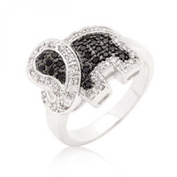 Black And White Cubic Zirconia Elephant Ring (size: 06)
