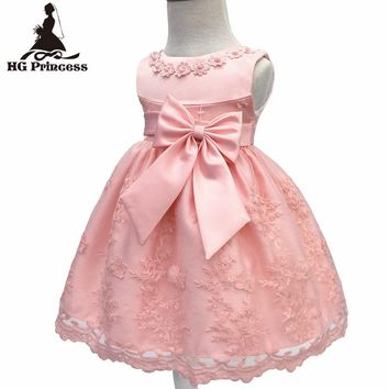 Free Shipping Cotton Lining Infant Dresses Lace 2017 New Arrival Red Baby Dress For 1 Year Girl Birthday Bow Party Gown Toddler