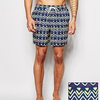 ASOS Swim Shorts In Mid Length With Geo