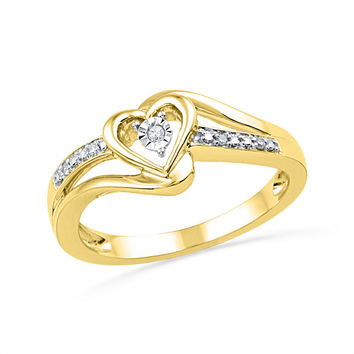 10kt Yellow Gold Womens Round Natural Diamond Heart Love Promise Bridal Ring .03 Cttw
