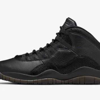 [Free Shipping]Nike Air Jordan 10 Retro OVO   Black Metallic Gold October Drake 819955-030  Basketball Sneaker