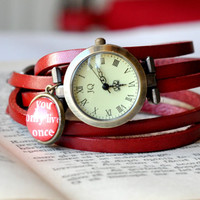 Red Leather Wrap Watch, You Only Live Once Leather Watch, Wrist Watch Women Accessories Inspirational Quote
